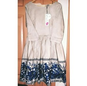 Lindy Bop Holly Watercolor Swing Dress! NWT!